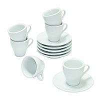 Набор Белый Эспрессо на 6 персон ( кофейные чашки и блюдца )