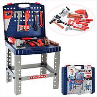 Игрушечный набор инструментов в чемодане 008-21, верстак, дрель на батарейках, ключи и др, детские мастерские