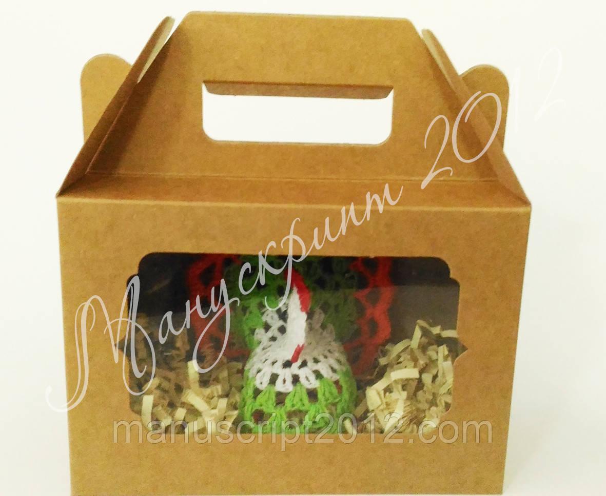 Коробка для подарков с фигурным окном крафт 190х130х90 мм.