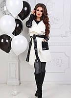 Пальто женское мод.106 (кашемир+кож.зам.)