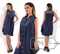 Джинсовое платье-рубашка, батал