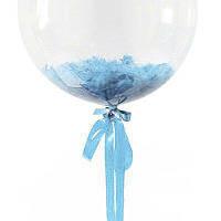 Перья для шариков голубые, 5-10 см