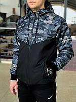 Ветровка Windrunner Jacket Nike, цвет черный + светлый камуфляж
