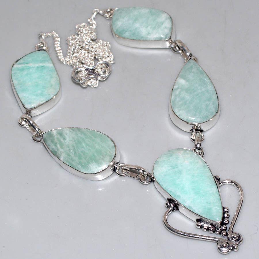 Амазонит ожерелье с натуральным амазонитом в серебре