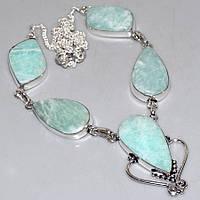 Амазонит ожерелье с натуральным амазонитом в серебре, фото 1