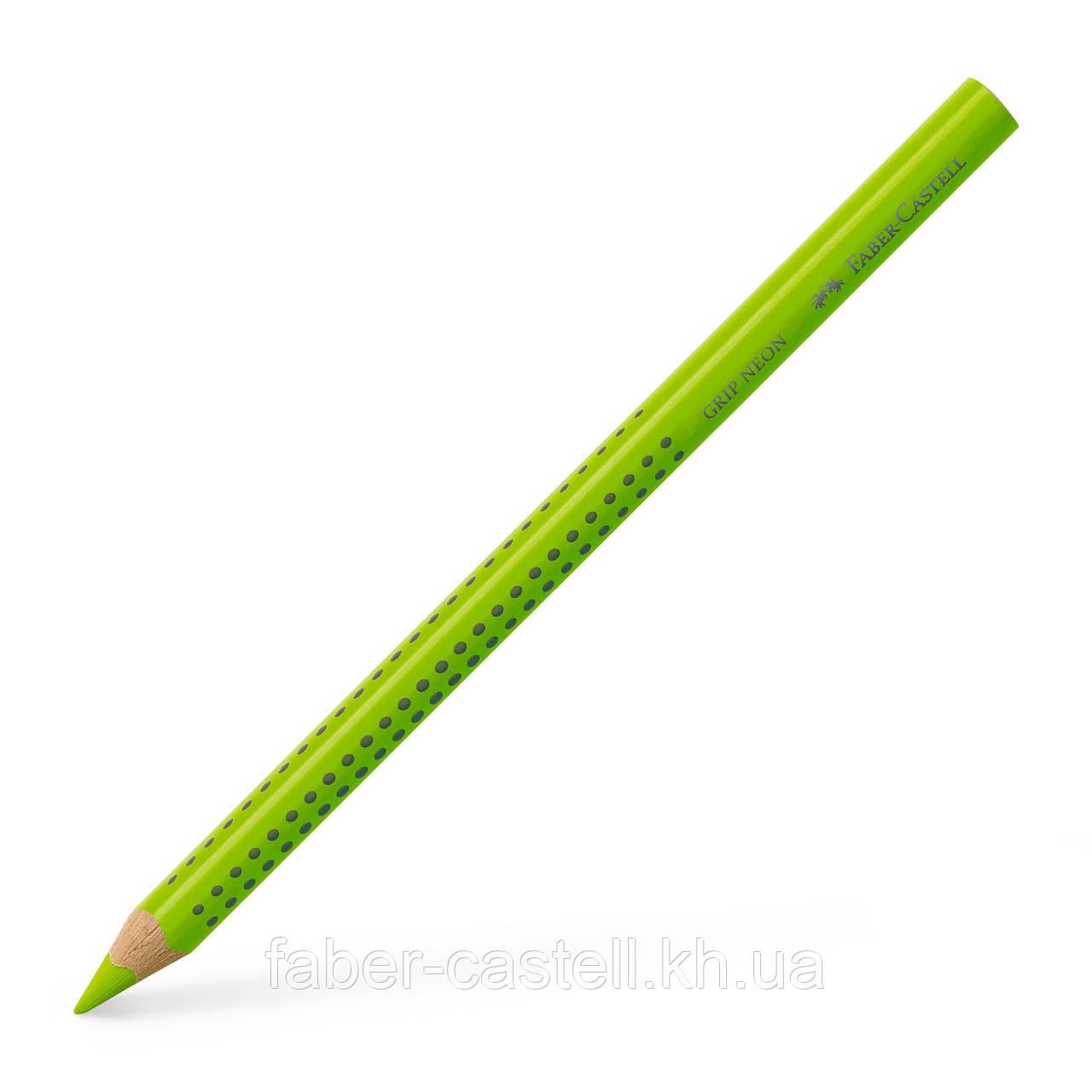 Маркер-карандаш текстовыделитель Faber-Castell Jumbo Grip Neon зеленый, сухой трехгранный, 114863