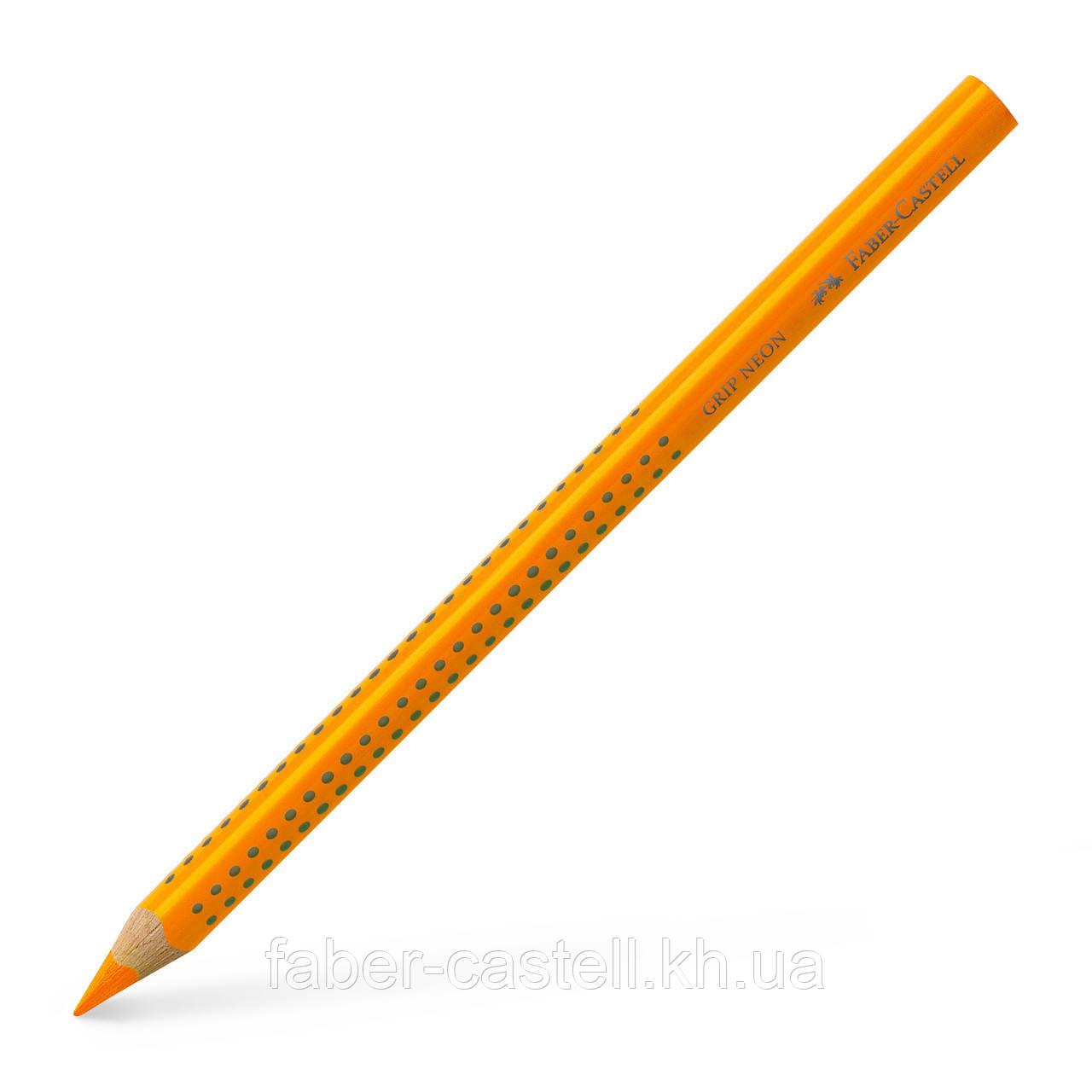 Маркер-карандаш текстовыделитель Faber-Castell Jumbo Grip Neon оранжевый, сухой трехгранный, 114815