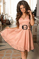 Женское платье перфорация с ремнем 88585