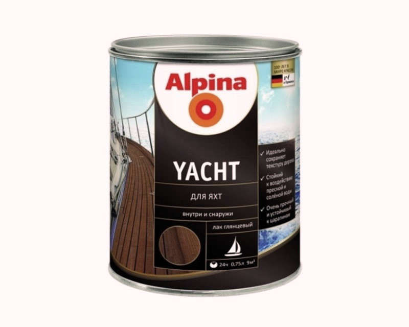 Лак алкид-уретановый ALPINA YACHT яхтовый, 0,75л