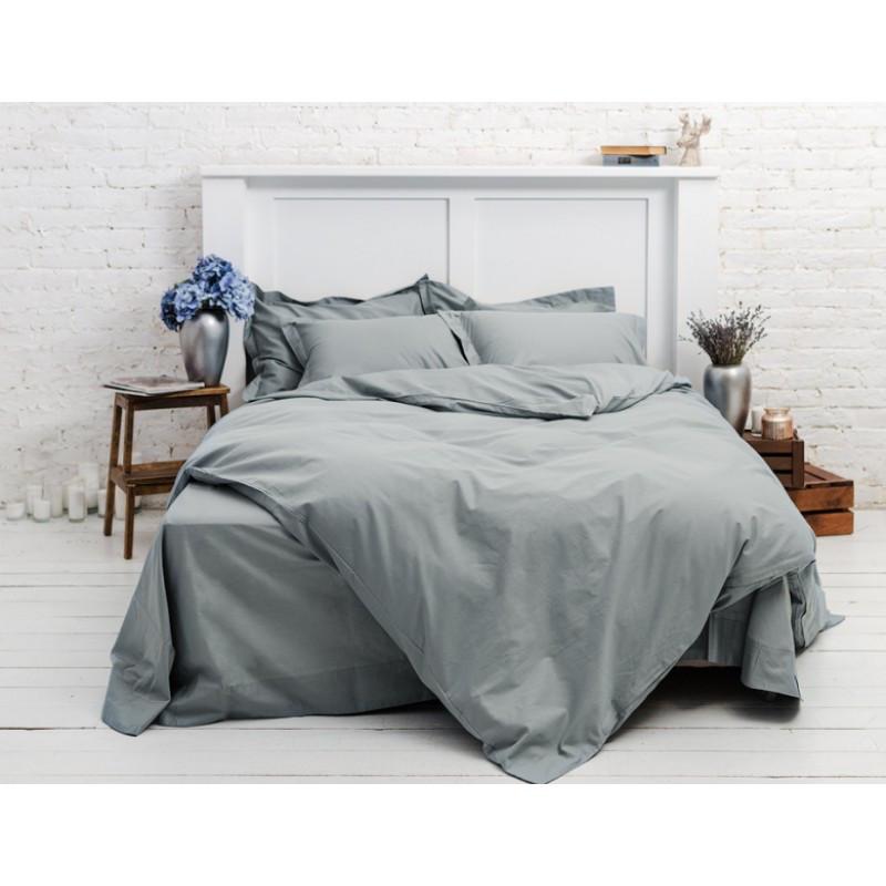 Постельное белье Однотонный Серый ранфорс Lux ТМ Царский дом  (Полуторный)