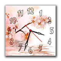 """Настенные часы """"Яблоня в цвету"""" 30х30 см нежная картина"""