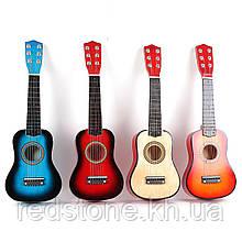 Детская деревянная гитара 6 - струнная миниатюра настоящей (цвета в ассортименте)