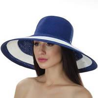 Шляпа летняя широкое поле цвет синий с белым