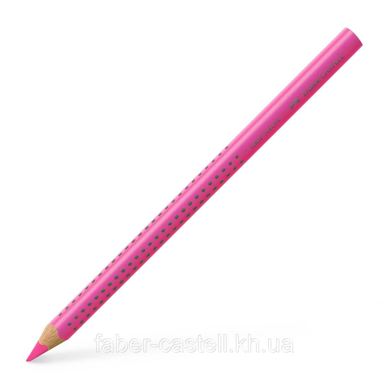 Маркер-карандаш текстовыделитель Faber-Castell Jumbo Grip Neon розовый, сухой трехгранный, 114828