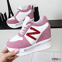 Розовые кроссовки на платформе 2050-1, фото 1