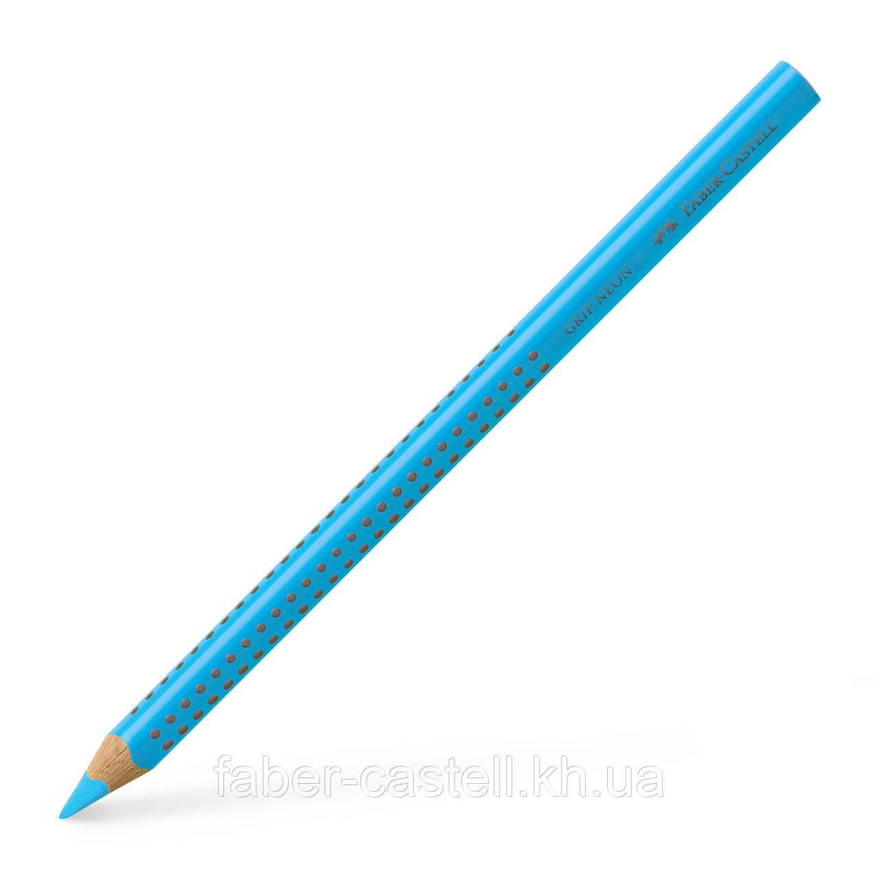 Маркер-карандаш текстовыделитель Faber-Castell Jumbo Grip Neon голубой, сухой трехгранный, 114851