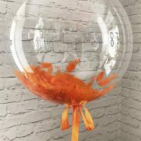 Перья для шариков оранжевые, 5-10 см