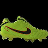 Бутсы футбольные Nike Tiempo салатовые, фото 1