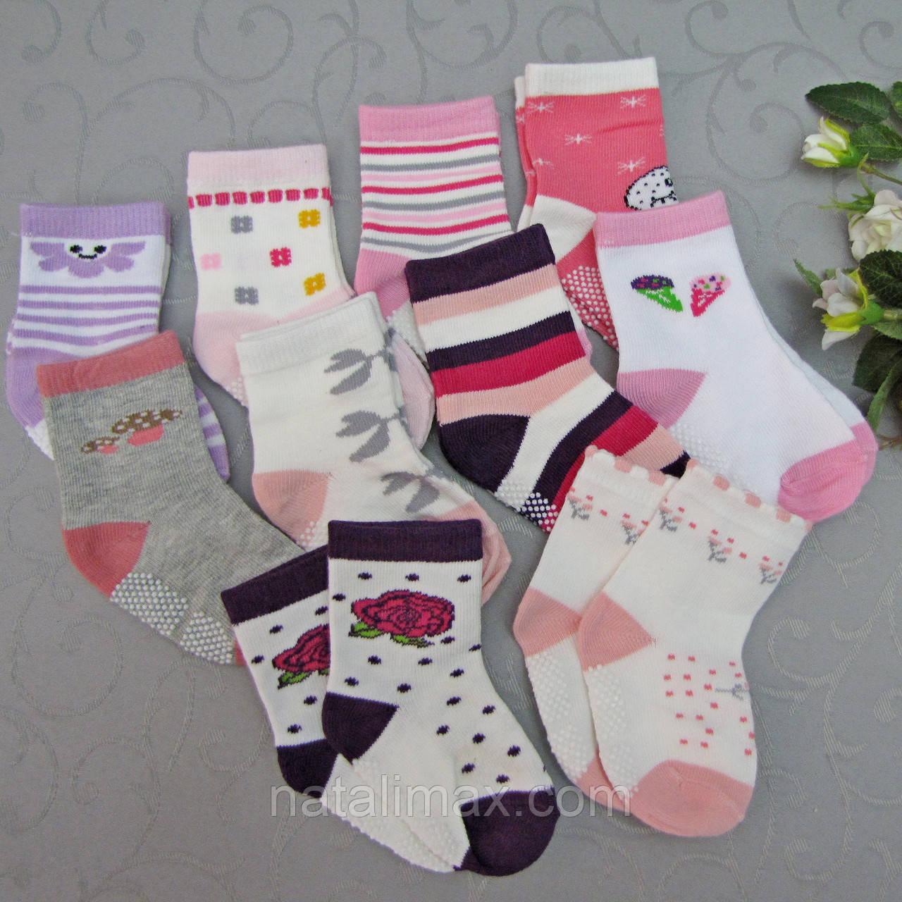 """Носки  для девочек с """"тормозами"""" 0-6 (0-8) месяцев, """"ЮЛИЯ""""  . Детские  носки,  носочки для девочек"""