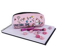 Пенал детский розовый с надписями ( школьный пенал )