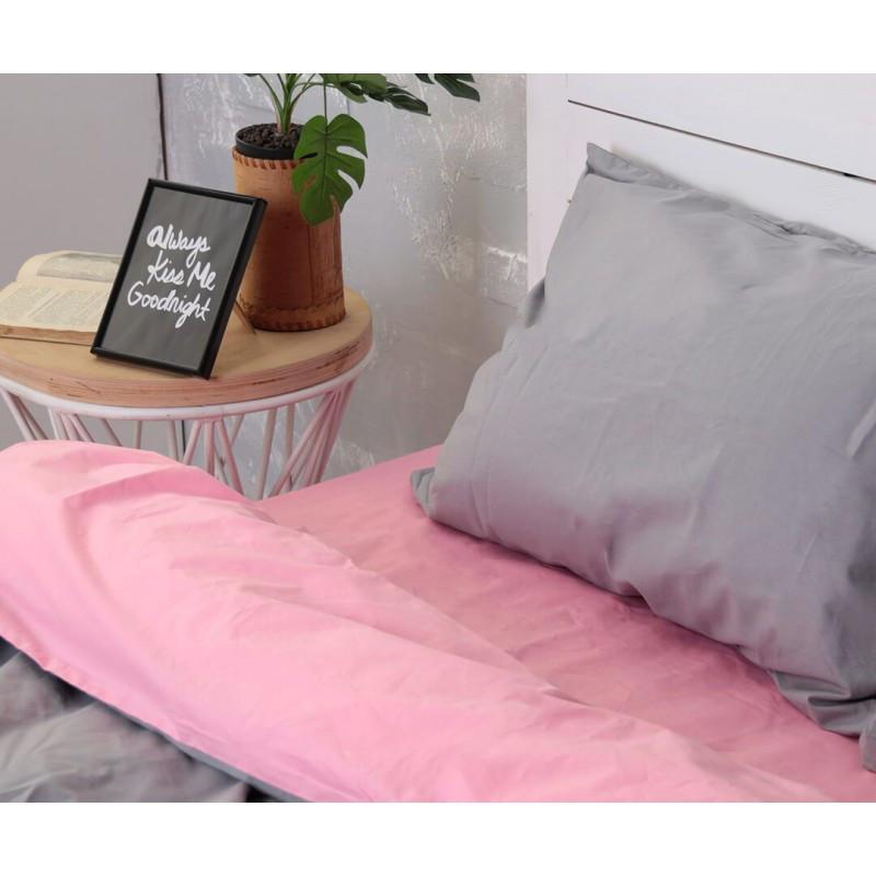 Постельное белье Микс розовый+серый ранфорс Lux ТМ Царский дом  (Двуспальный)