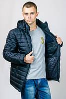 Зимняя мужская куртка с капюшоном (темно-синяя). 48