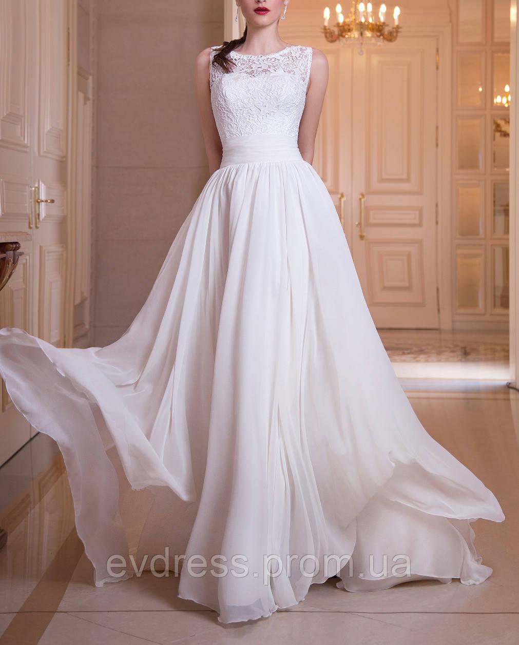 b5a4f8c37 Белое свадебное платье с пышной юбкой, открытой спиной CB-70340 - Интернет -магазин