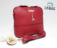 Маленькая сумка темно-красная Melani с оленем через плече Товар уценен