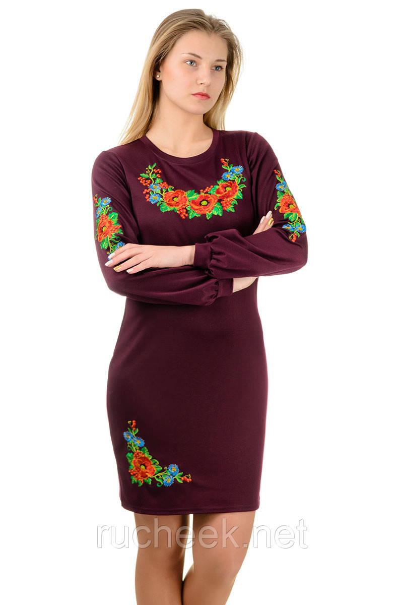 Платье вышиванка Калина (длинный рукав)_марсала