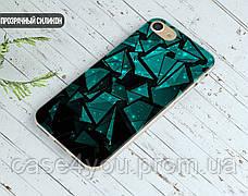 Силиконовый чехол для Meizu M6 Note Зелёные осколки (21032-3023), фото 3