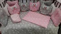 """Детский набор постельного белья для малыша в кровать """"Сова"""" с1-1"""