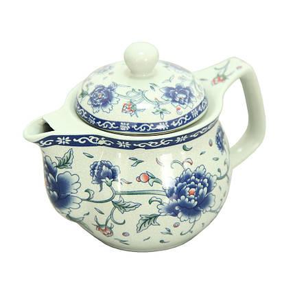 Керамический чайник Синий пион с металлическим ситом, 425 мл, фото 2