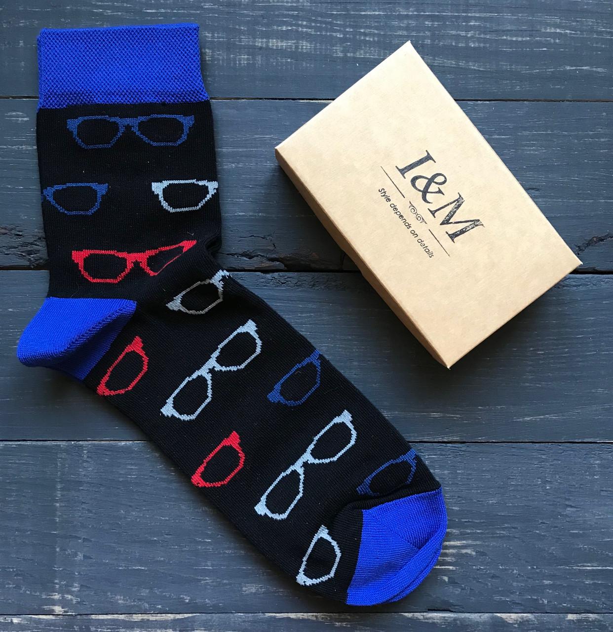 Носки I&M Craft Elegant's черные с стильными очками (070117)