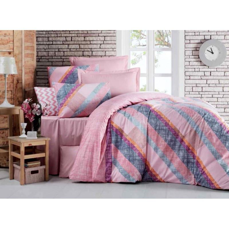 Постельное белье Паралель розовый ранфорс Lux ТМ Царский дом  (Полуторный)