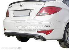 Диффузор заднего бампера Hyundai Accent 2011-2016 обманки черные
