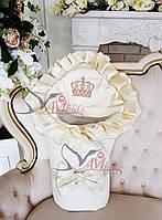 """Конверт на выписку  для новорожденных """" Элегантность """" белый с молочным атласом"""