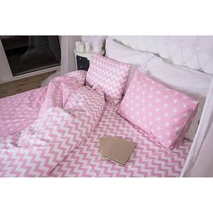 Постельное белье Звезды + зигзаг на розовом ранфорс Lux ТМ Царский дом  (Семейный), фото 2