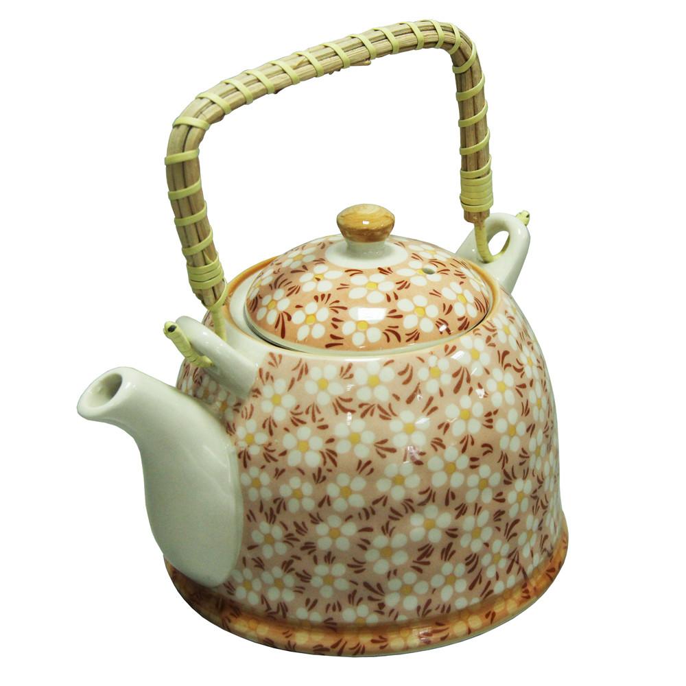 Чайник с металлическим ситом Домашний красный, 900 мл