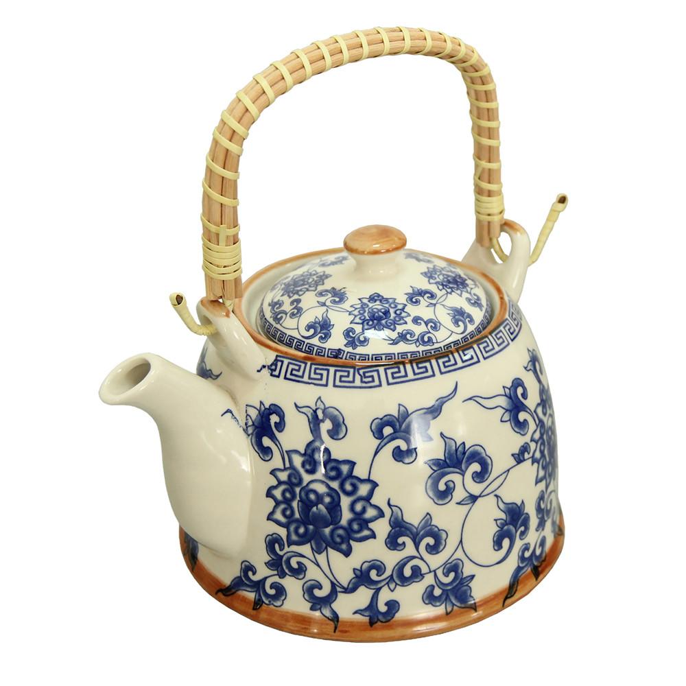 Керамический чайник с металлическим ситом Голубая хризантема, 900 мл