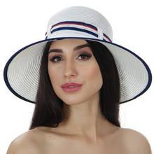 Женская летняя шляпа с полями цвет белый с синей отделкой