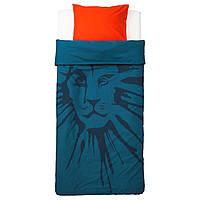 """ИКЕА """"УРСКОГ"""" Комплект постельного белья, лев, темно-синий, 150x200/50x60 см."""