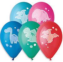 """Воздушные шары """"Динозавры"""" 12""""(30 см) ассортипастель. В упак: 100 шт. ТМ""""Gemar"""""""