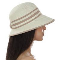 Женская летняя шляпа  с уменьшенными полями сзади  цвет бежевый в меланже , фото 1