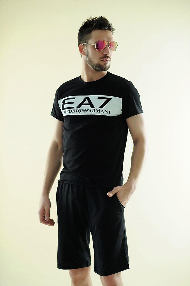 """Летний мужской спортивный костюм """"EA7"""" с шортами (3 цвета)"""
