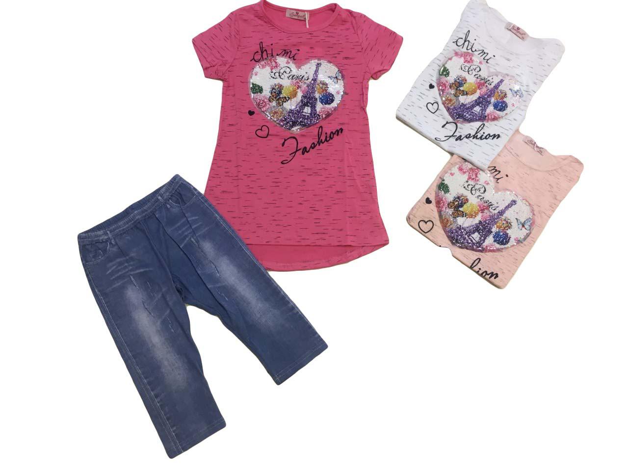 Комплект летний для девочки опт, размеры 6-14 лет,  Seagull , арт. CSQ-58507