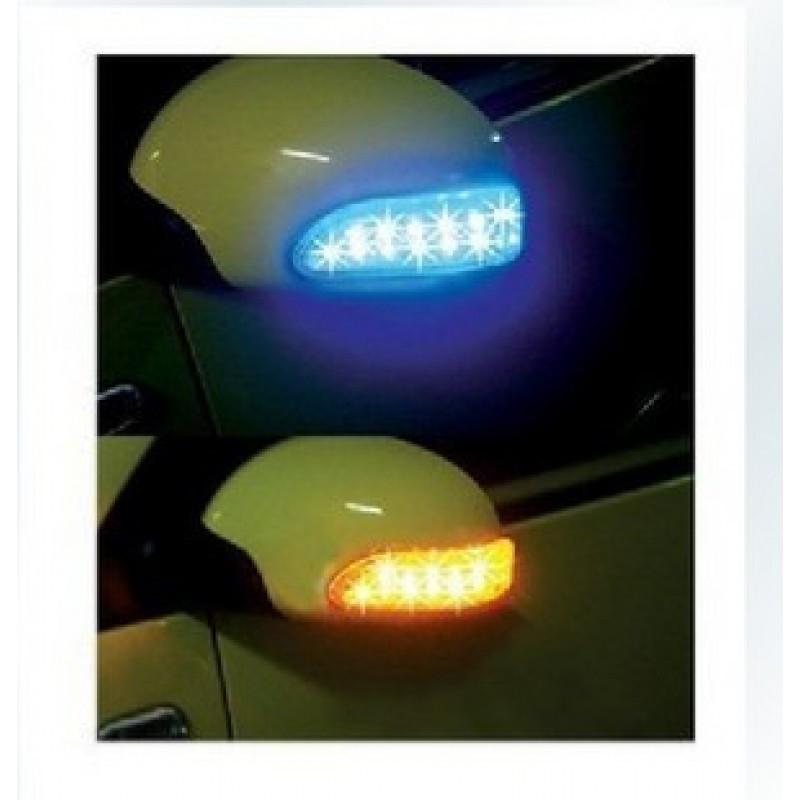Повторители поворотов, накладные, гибкие, крепятся на заднюю часть боковых зеркал авто, синий / желтый (2 шт.) - Интернет магазин «Наш базар» быстро, доступно и качественно в Киеве