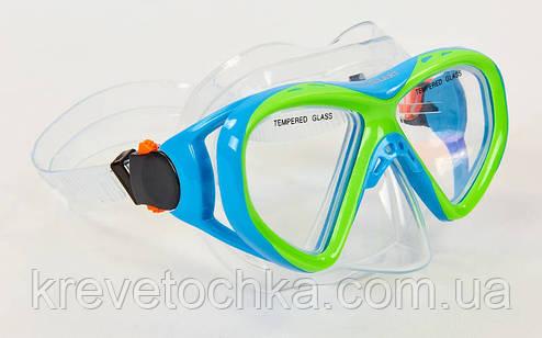 Маска для плавания подростковая M258-PVC (10-16лет, т.стекло, PVC, пластик, голуб-салат, желтый-сер), фото 2