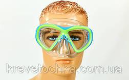 Маска для плавания подростковая M258-PVC (10-16лет, т.стекло, PVC, пластик, голуб-салат, желтый-сер), фото 3