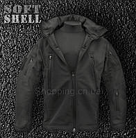 Куртка полиции SoftShell черная тактическая Alpha Tactical
