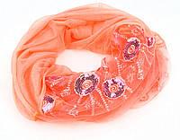 Шарф вискоза SH6-19 цветы персиковый